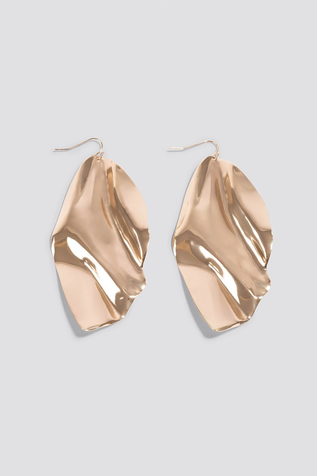 Oversize Curved Leave Earring Gold