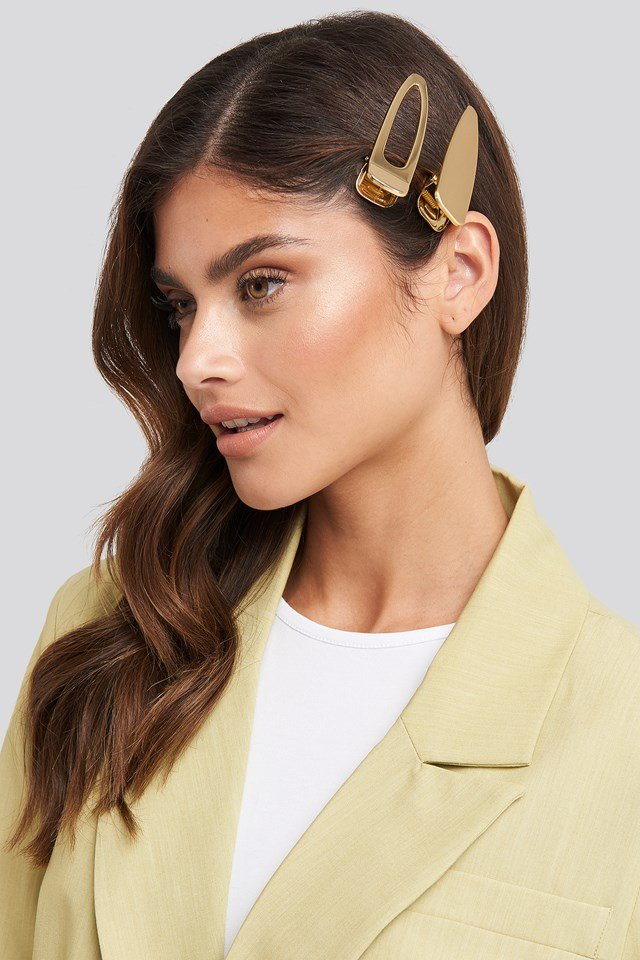 Oversize Metal Hairclips Gold