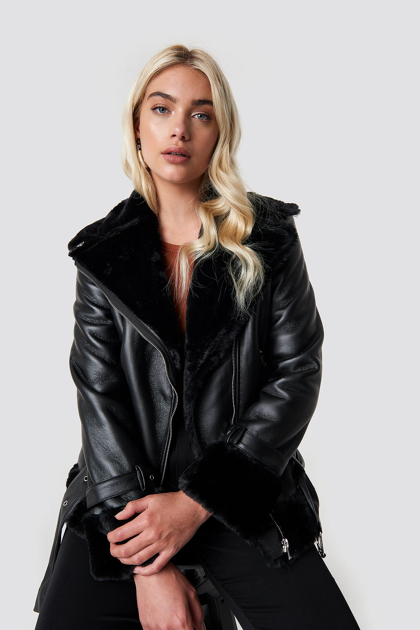 na-kd trend -  Oversized Padded Biker Jacket - Black