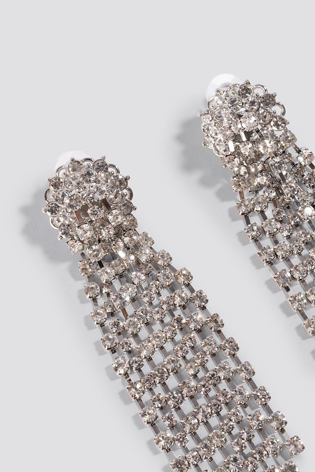Oversize Rhinestone Earrings Silver