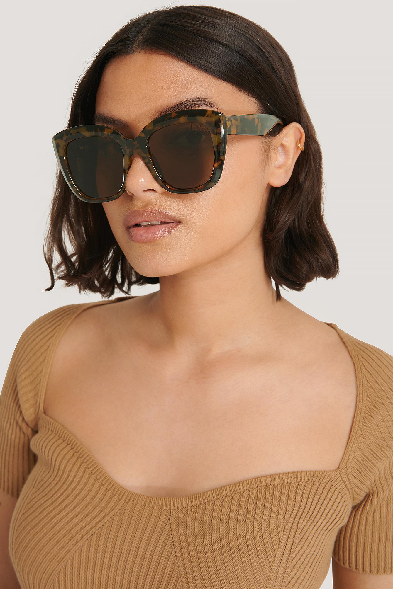 na-kd accessories -  Übergroße Abgerundete Katzenaugen-Sonnenbrille - Brown