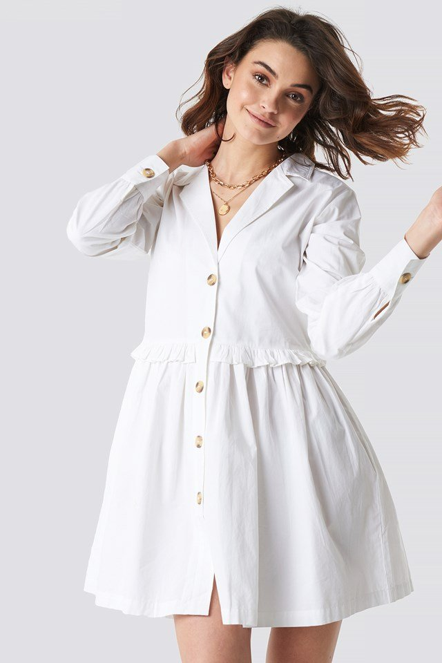 Oversize Ruffle Detail Shirt Dress White
