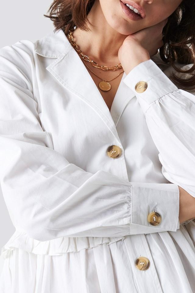 Oversize Ruffle Detail Shirt Dress White