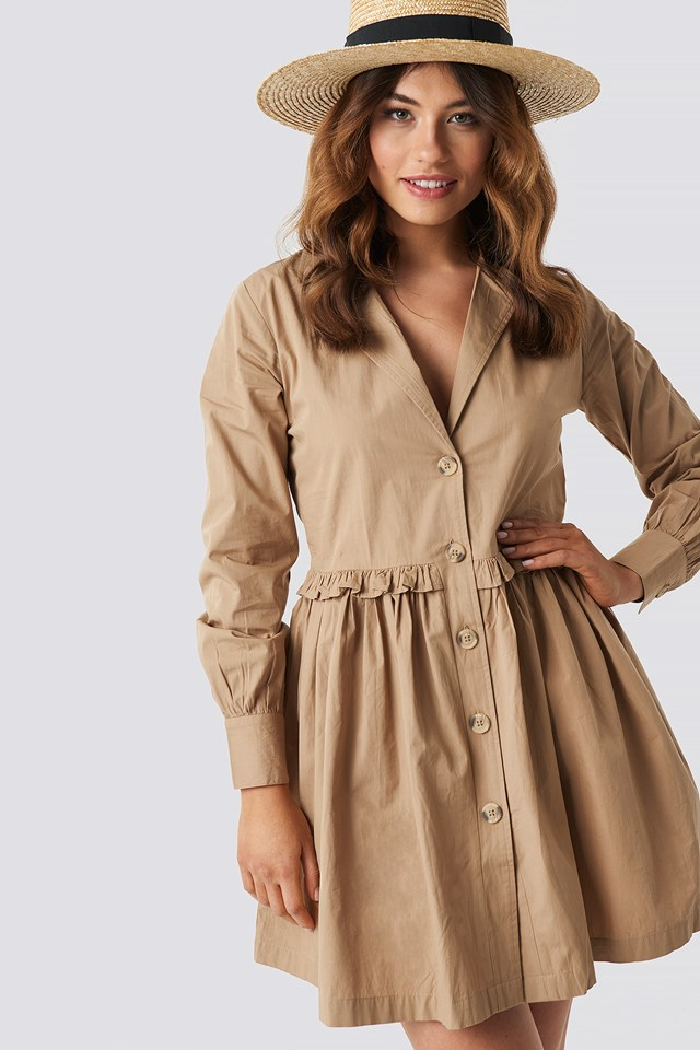 Oversize Ruffle Detail Shirt Dress Beige