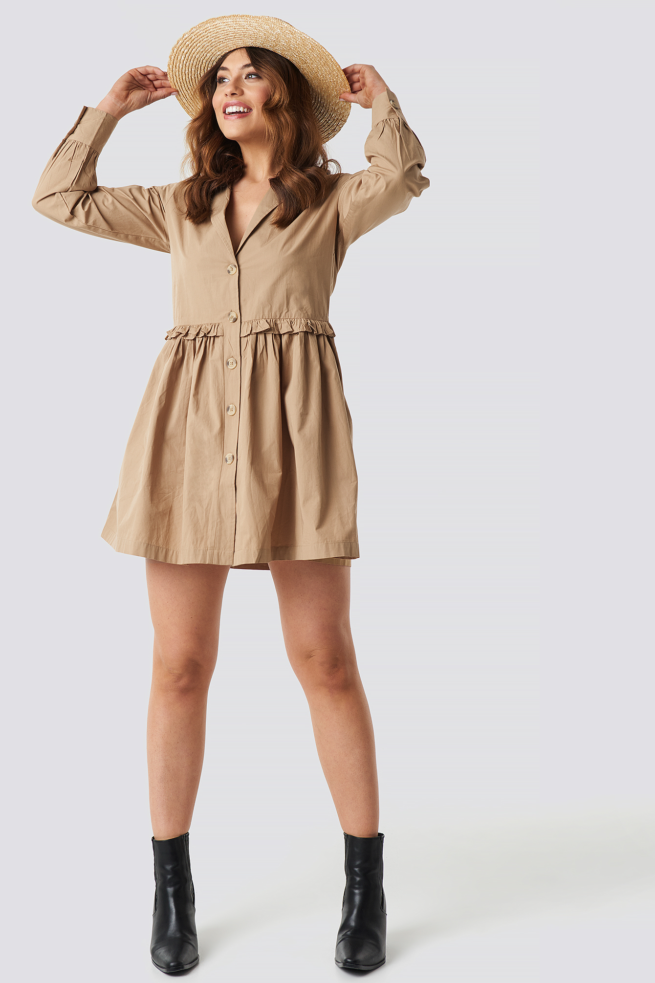 Oversize Ruffle Detail Shirt Dress NA-KD.COM