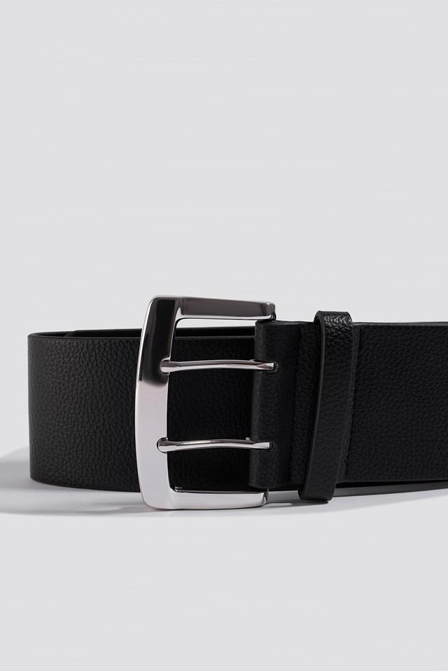 Oversize Squared Buckle Waist Belt Black