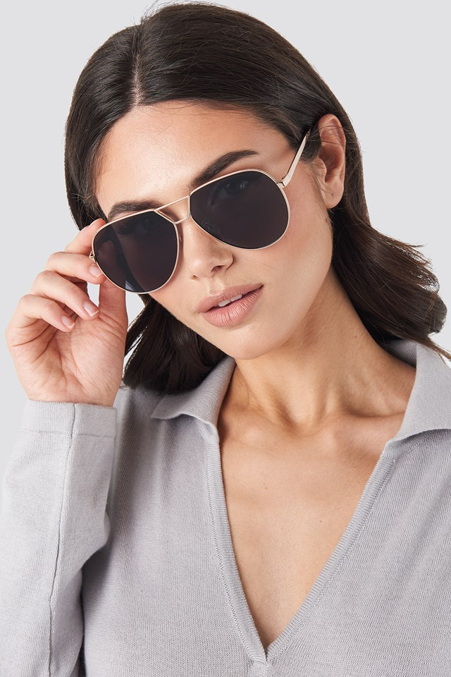 Oversize Wire Frame Sunglasses Black