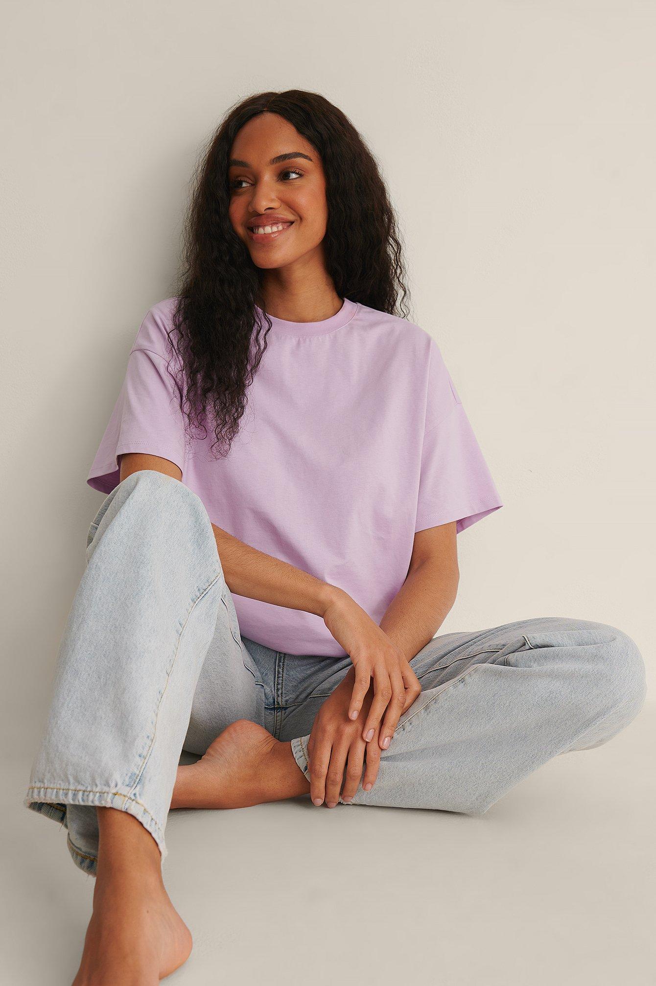 NA-KD Basic Økologisk oversize t-shirt med 3/4 ærmer - Purple