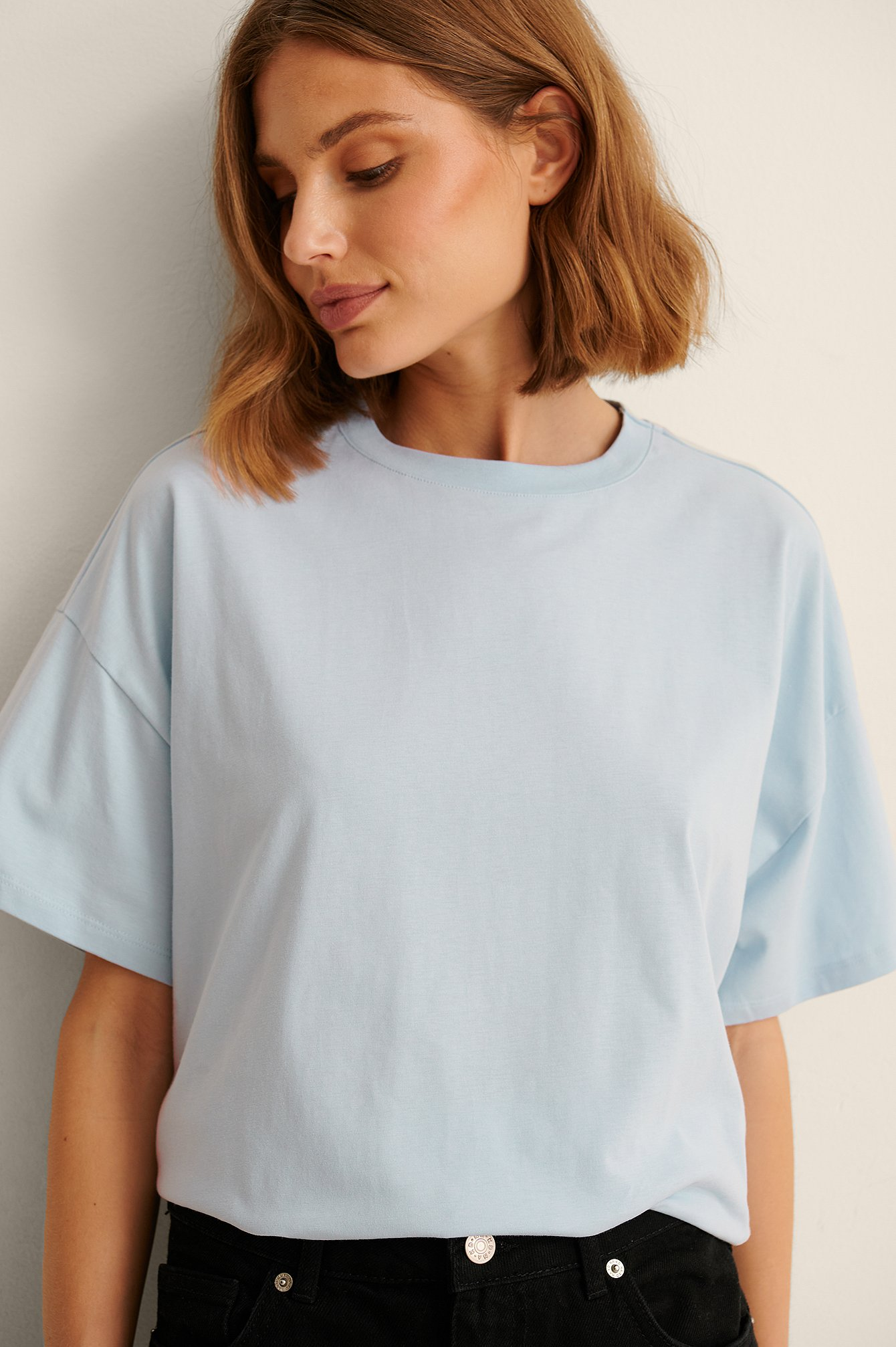 NA-KD Basic Økologisk oversize t-shirt med 3/4 ærmer - Blue