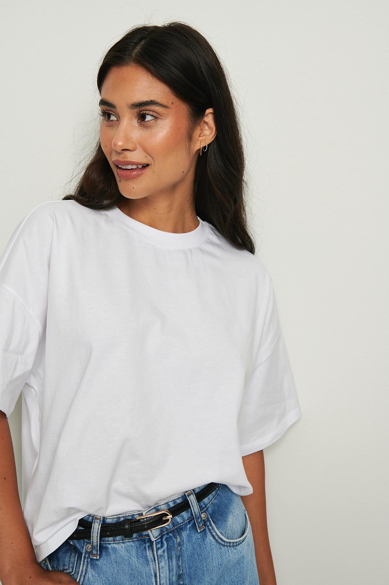 NA-KD Basic Økologisk oversize t-shirt med 3/4 ærmer - White