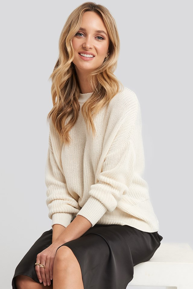 Oversized Balloon Sleeve Sweater Off White