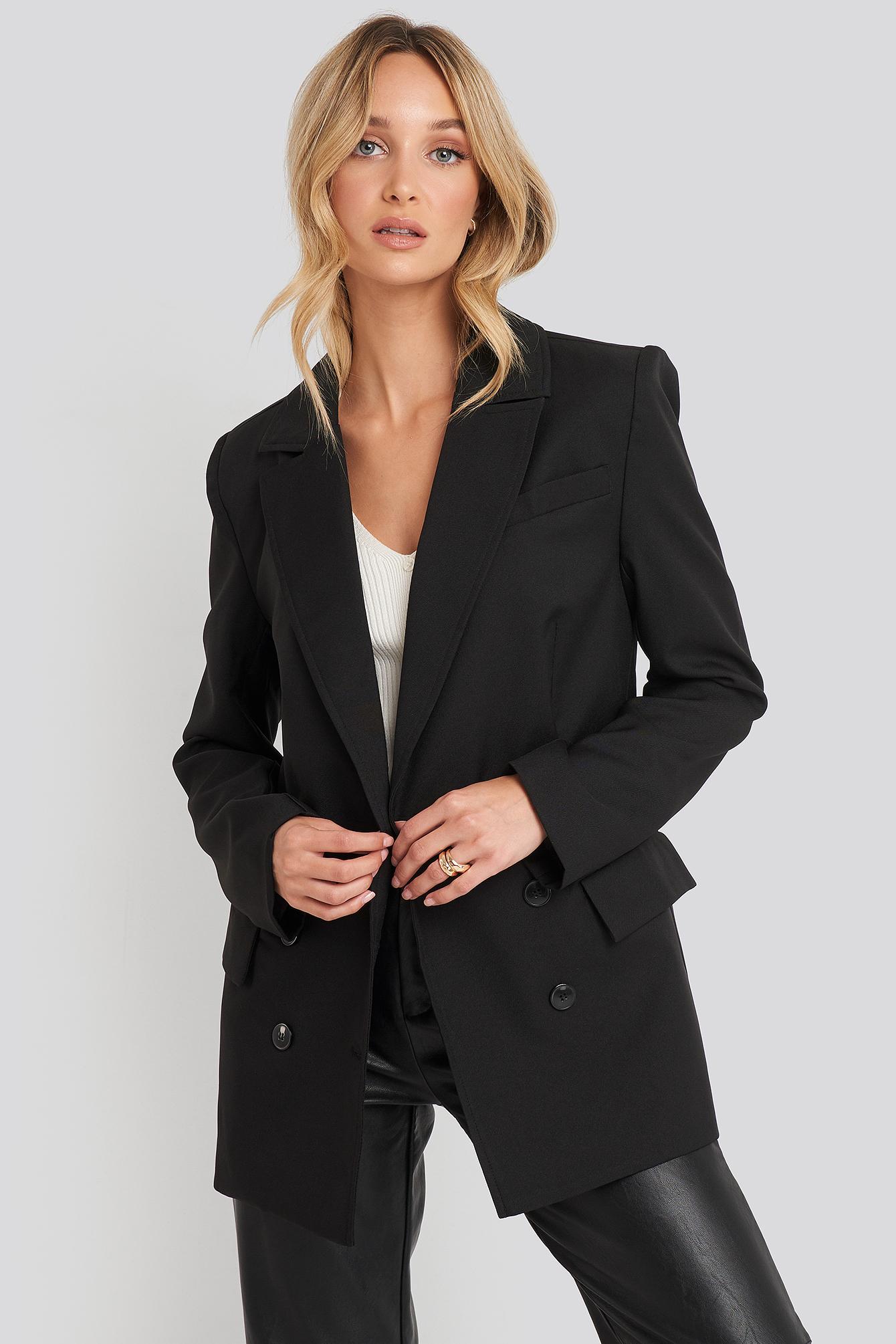 na-kd trend -  Oversized Boxy Blazer - Black