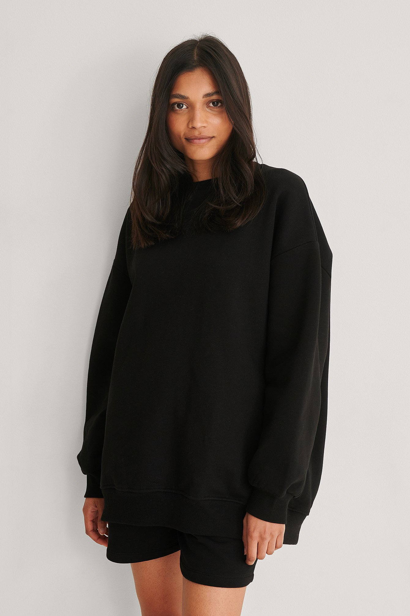 Black Oversized Brushed Sweatshirt