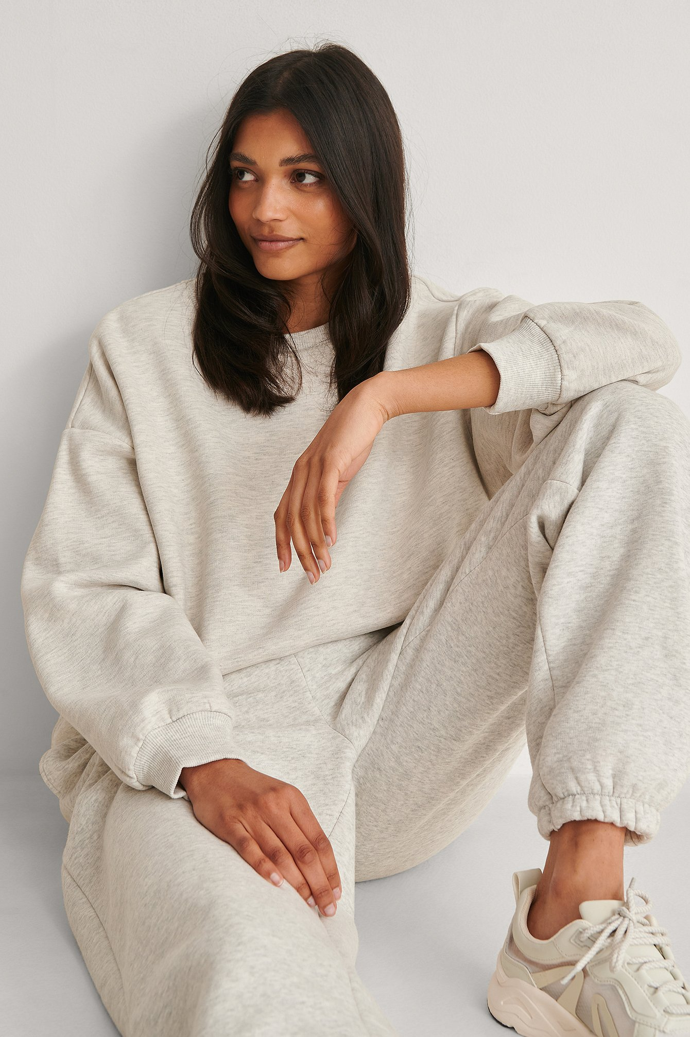 Grey Melange Oversized Brushed Sweatshirt