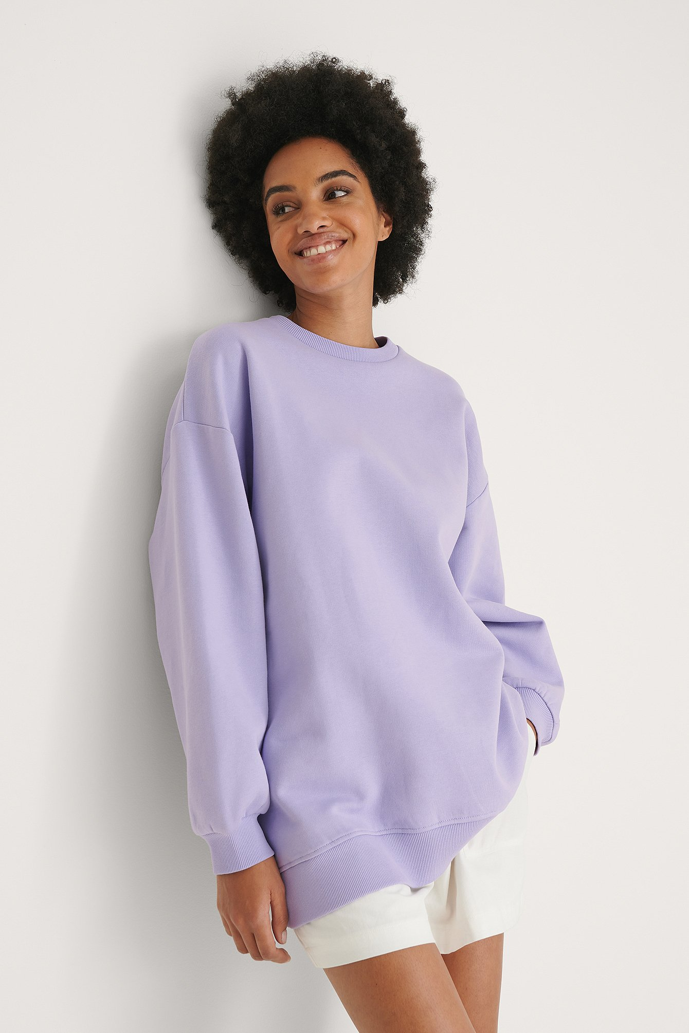 Lilac Organic Oversized Brushed Sweatshirt