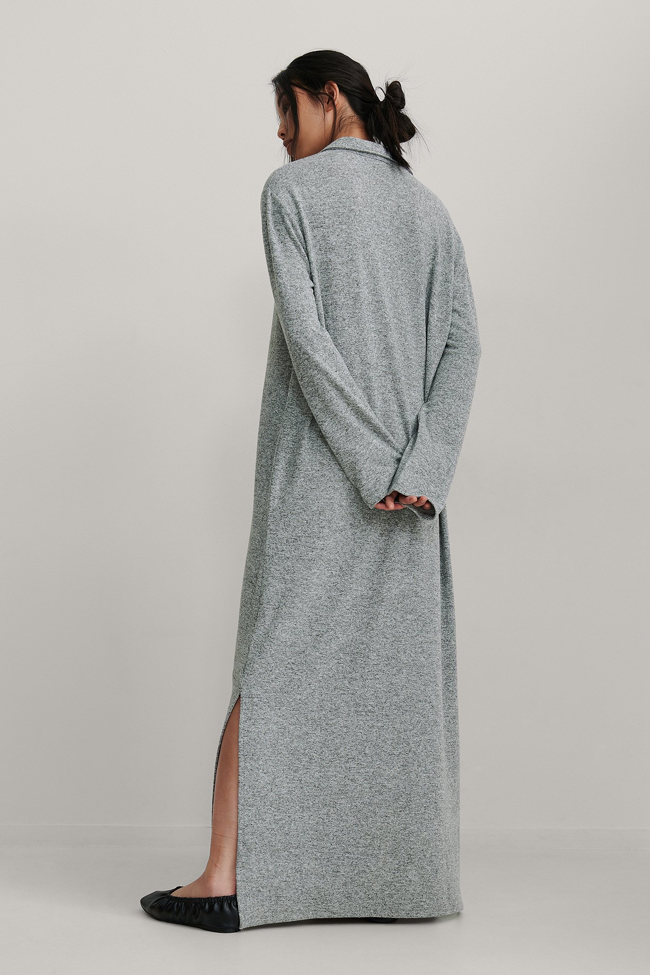 Grey Melange Recycled Oversize Button Detail Dress