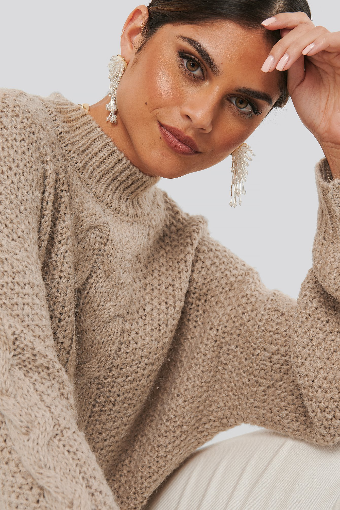 na-kd -  Oversized Cable Knitted Sweater - Beige