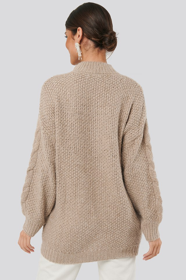 Oversized Cable Knitted Sweater Light Beige