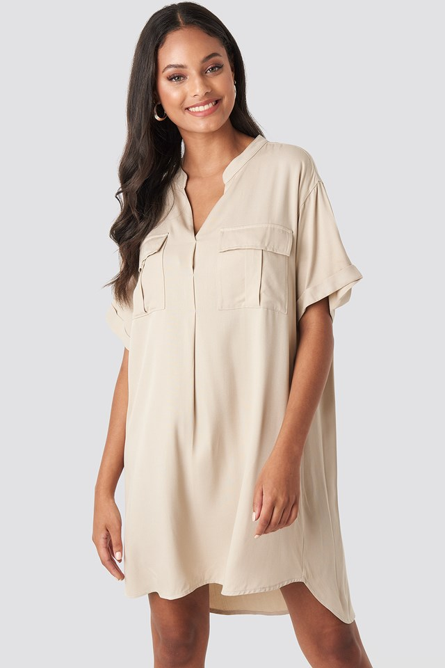 Oversized Cargo Tunic Dress Beige