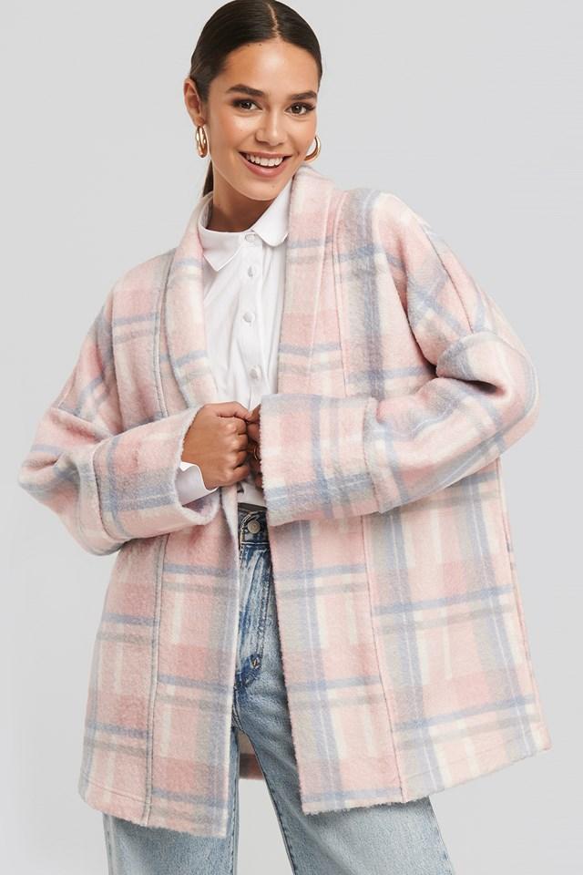 Oversized Checked Jacket Pink/White
