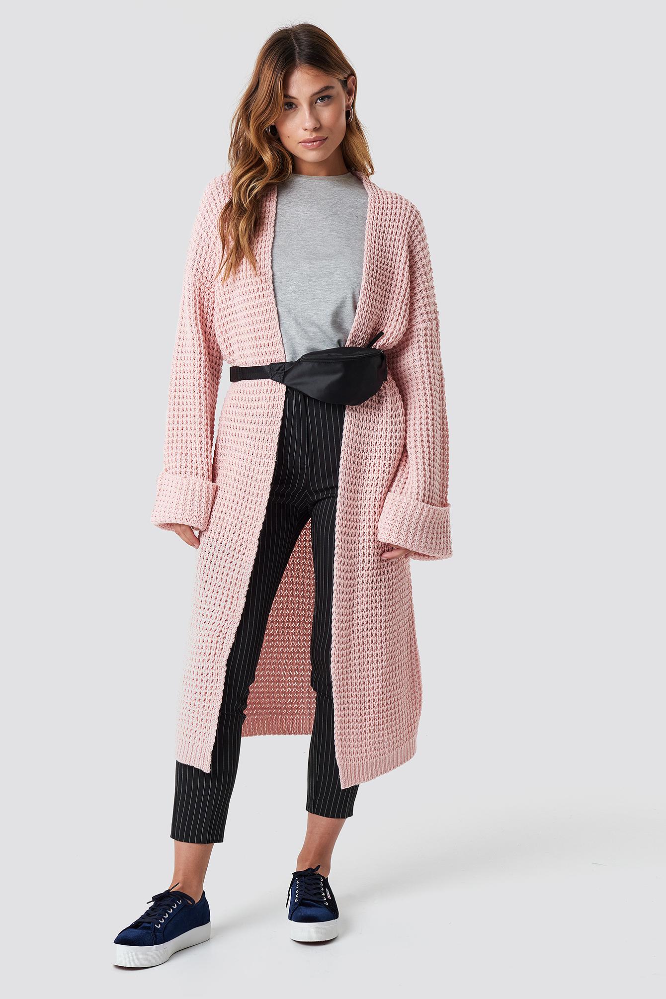 na-kd trend -  Oversized Chunky Sleeve Knit - Pink
