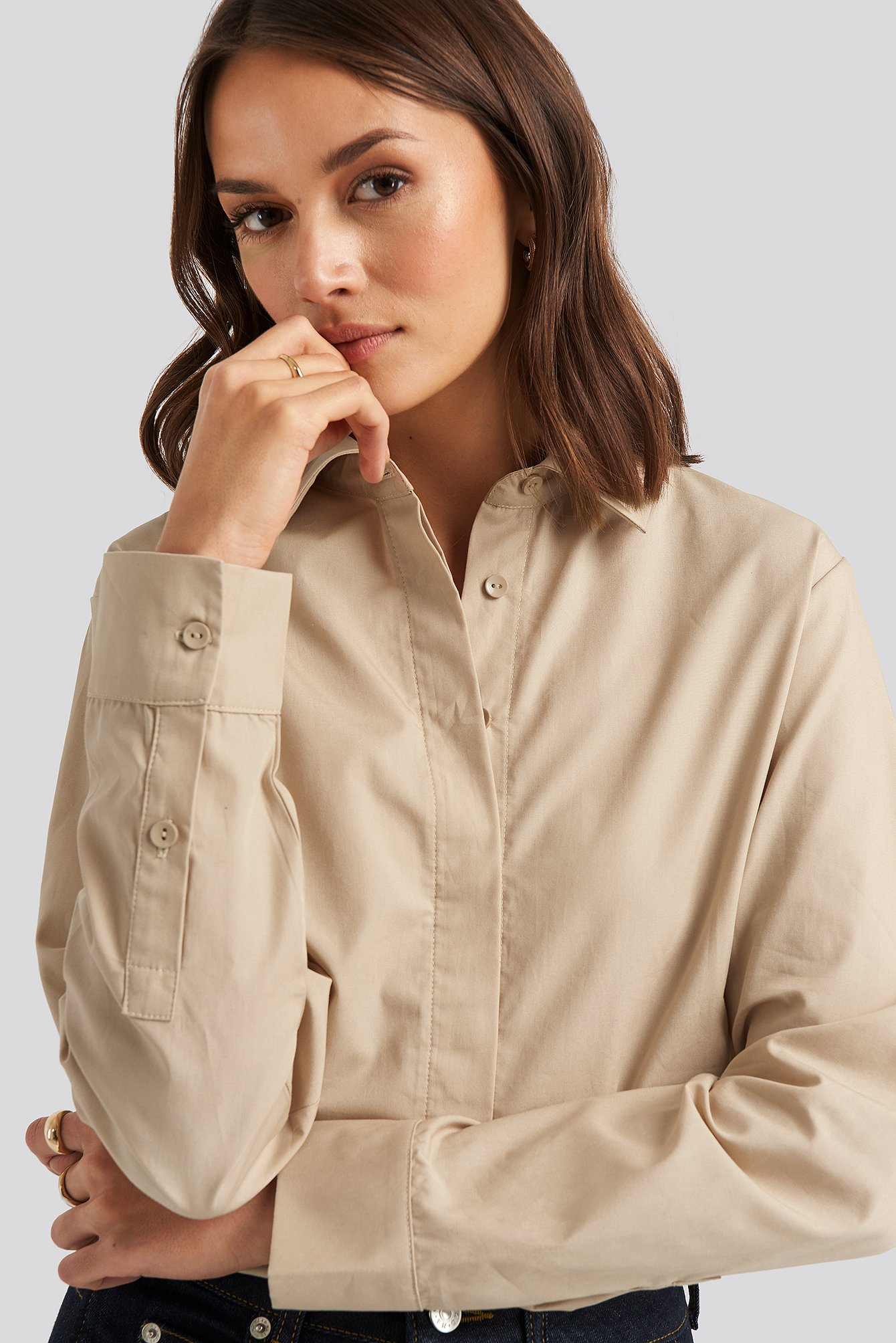 Oversized Concealed Button Shirt Beige by Na Kd