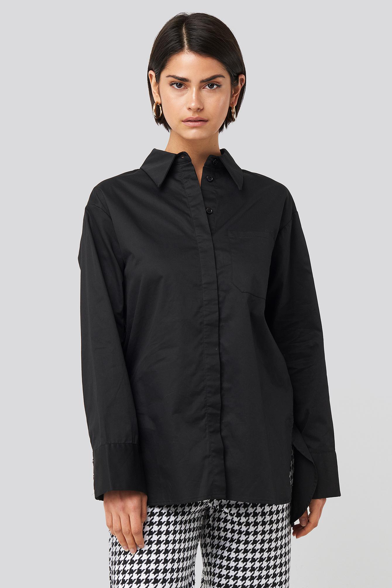 NA-KD Classic Übergroßes Baumwollhemd Mit Tasche - Black   Taschen > Handtaschen > Sonstige Handtaschen   NA-KD Classic