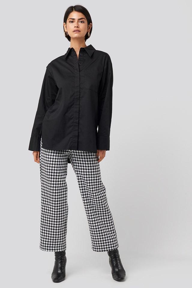 Oversized Cotton Pocket Shirt Black