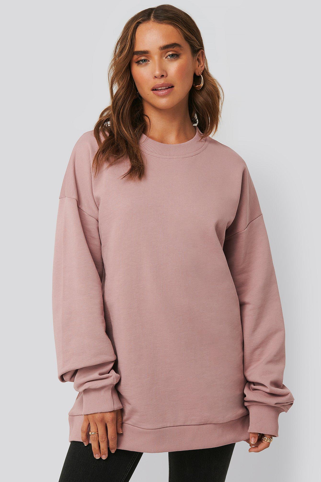 na-kd -  Oversized Crewneck Sweatshirt - Pink