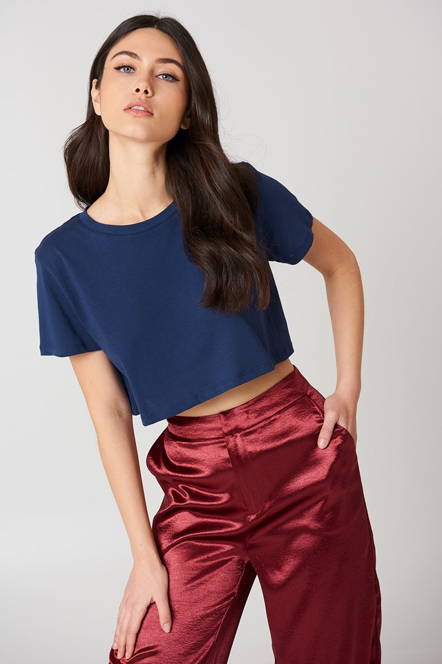 Oversized Cropped Tee Navy