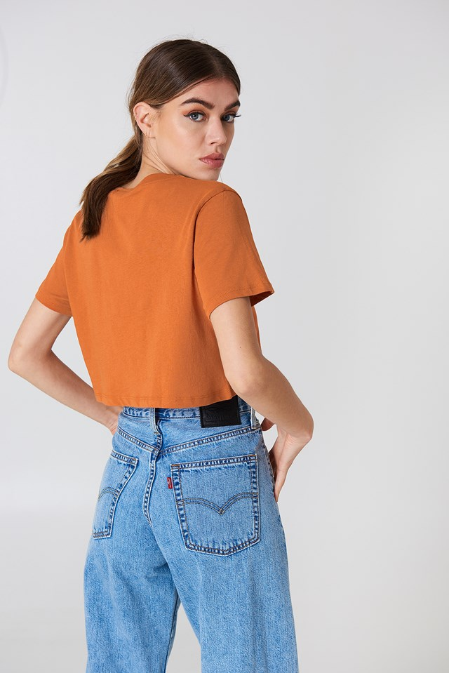 Oversized Cropped Tee Rust