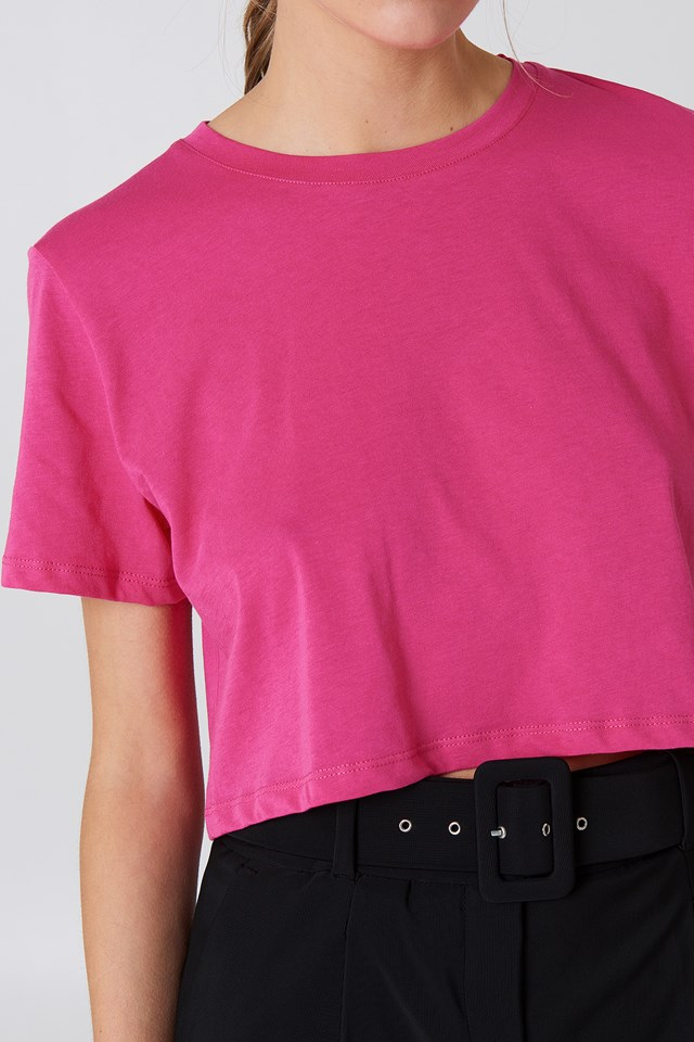 Oversized Cropped Tee Strong pink
