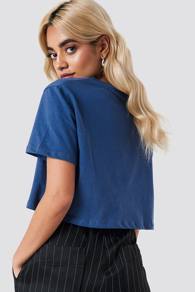 Oversized Cropped Tee Dark Dusty Blue
