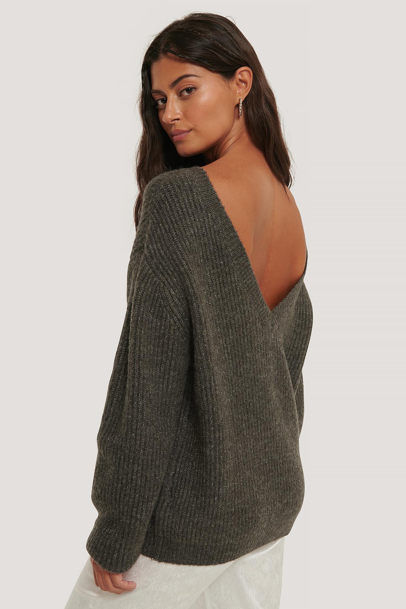na-kd trend -  Übergroßer Pullover Mit Tiefem Rücken - Grey