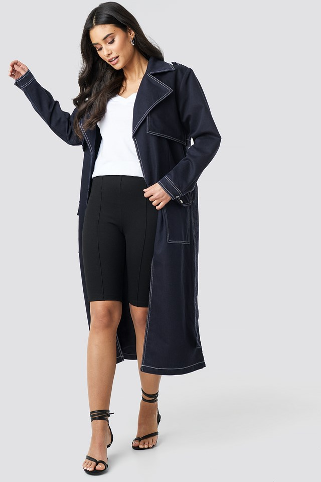 Oversized Denim Coat Dark Blue