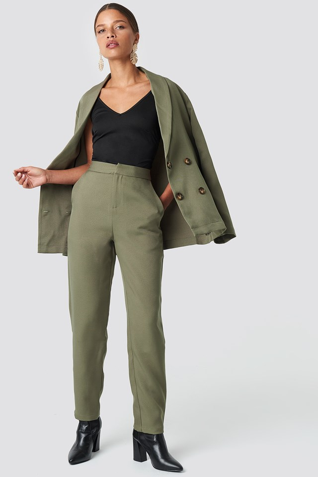 Oversized Double Breasted Blazer Khaki Green