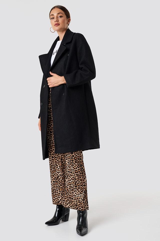 Dwurzędowy płaszcz oversize Black