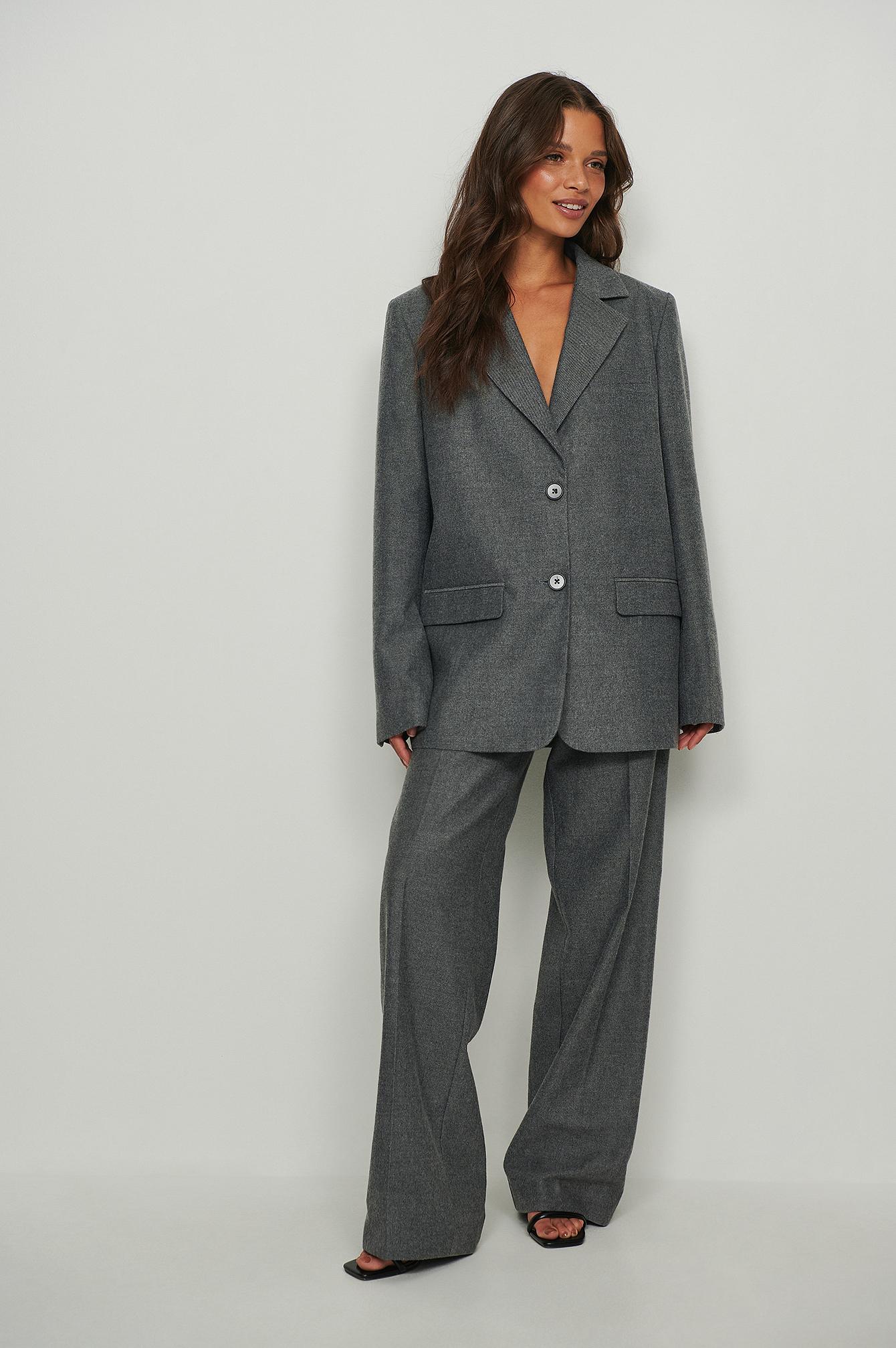 na-kd classic -  Oversize-Flannel-Blazer - Grey