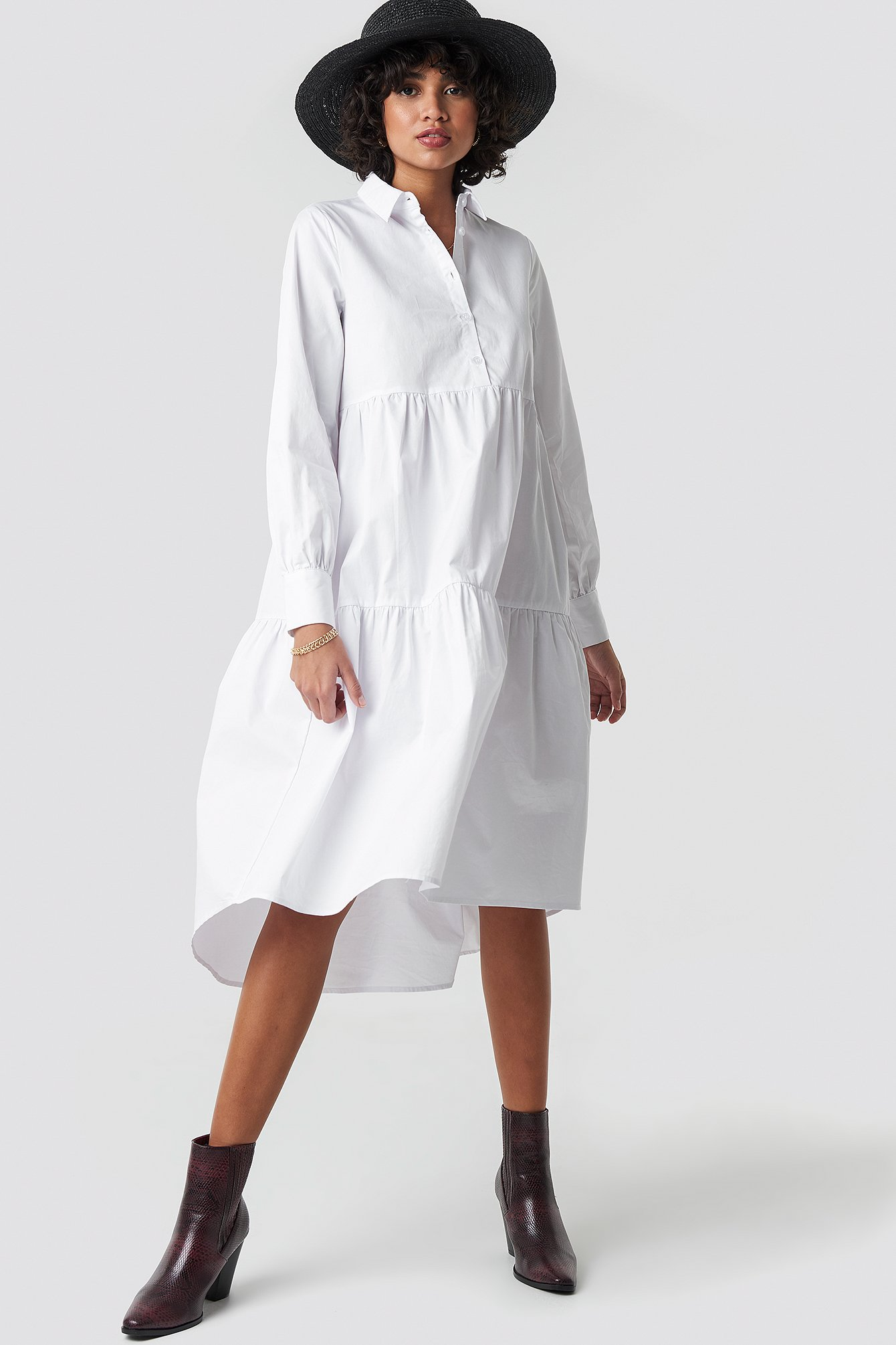 Oversized Gathered Shirt Dress NA-KD.COM