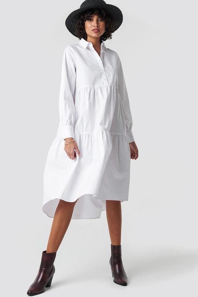 Oversized Gathered Shirt Dress White