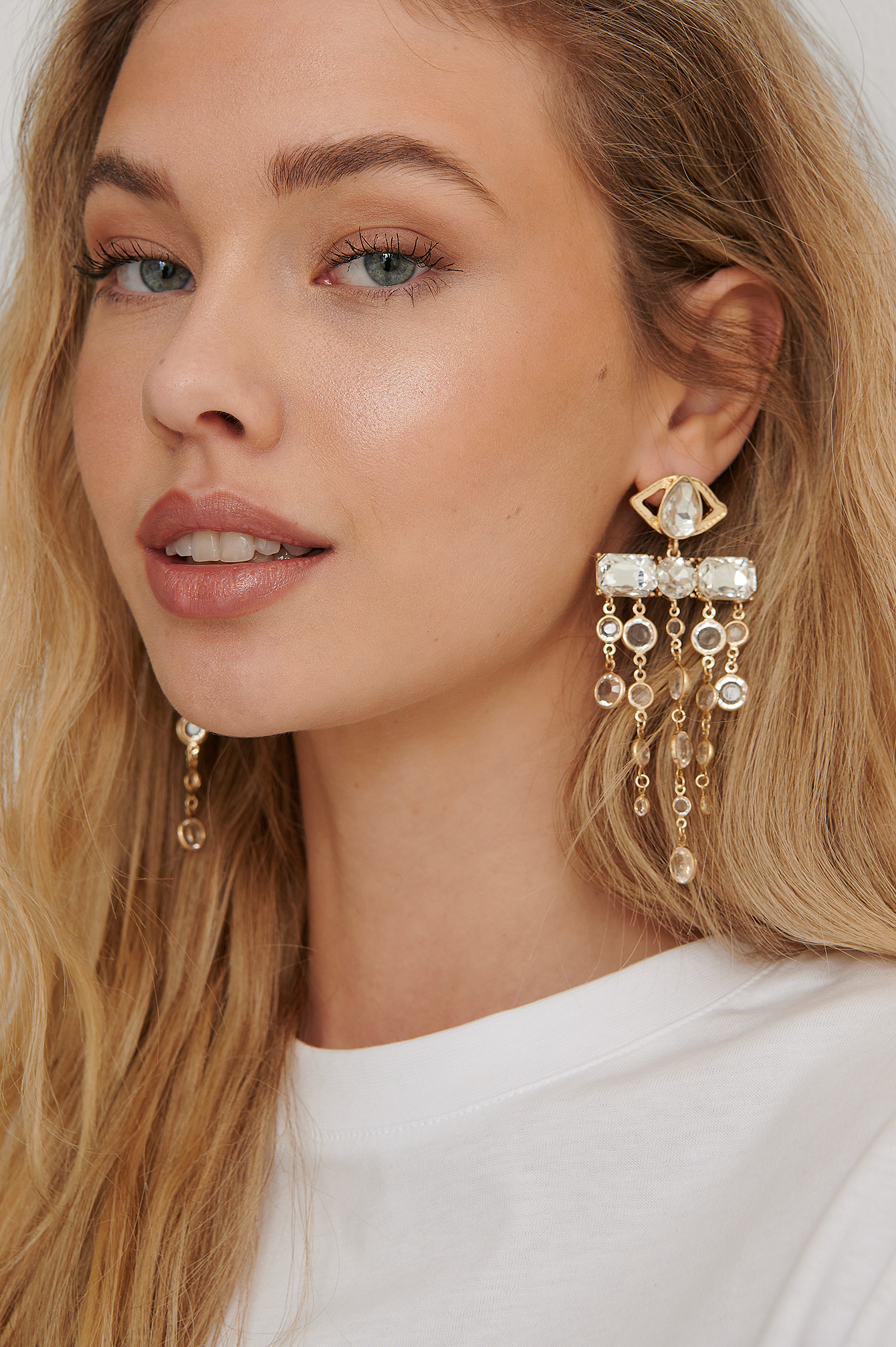 Gold Oversize Glass Drop Earrings