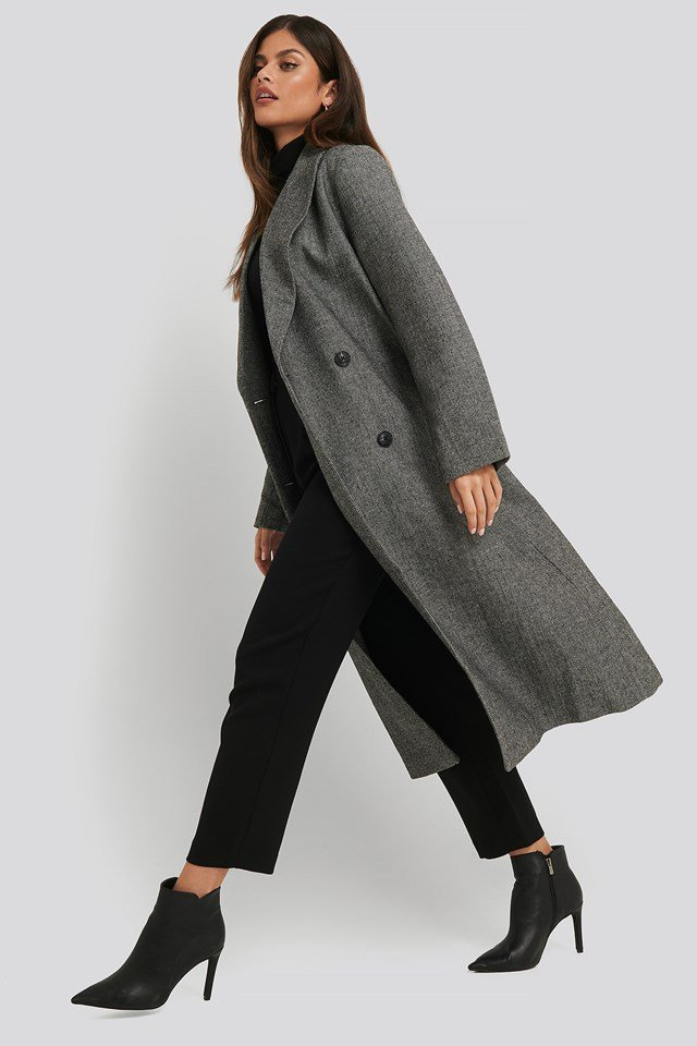 Oversized Herringbone Coat Grey
