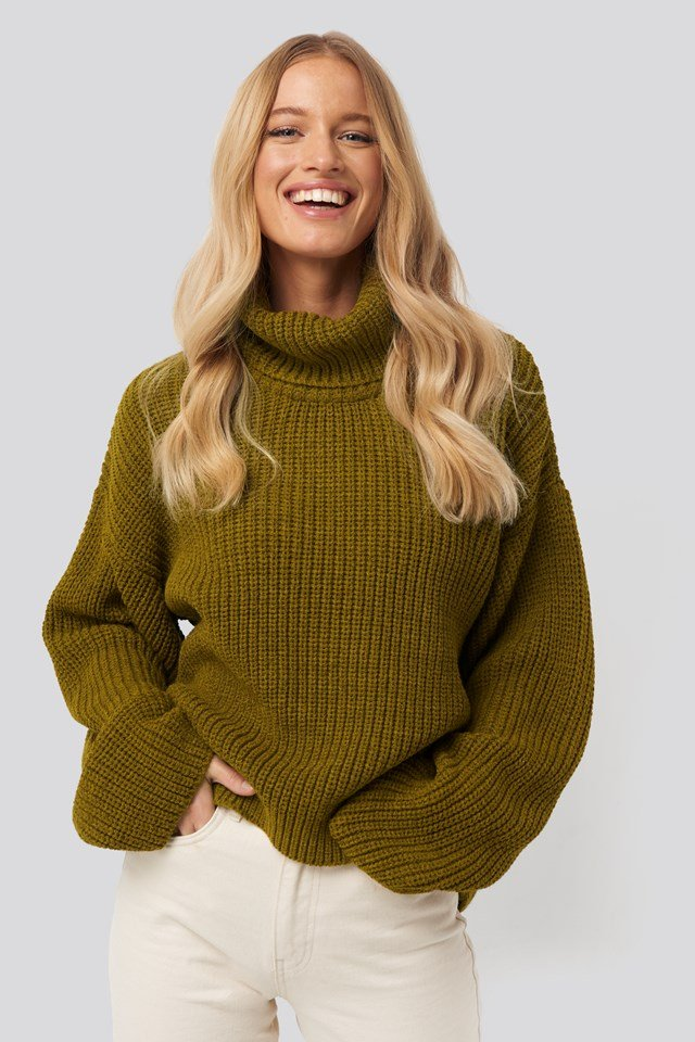 Oversized High Neck Knitted Sweater Olive Green