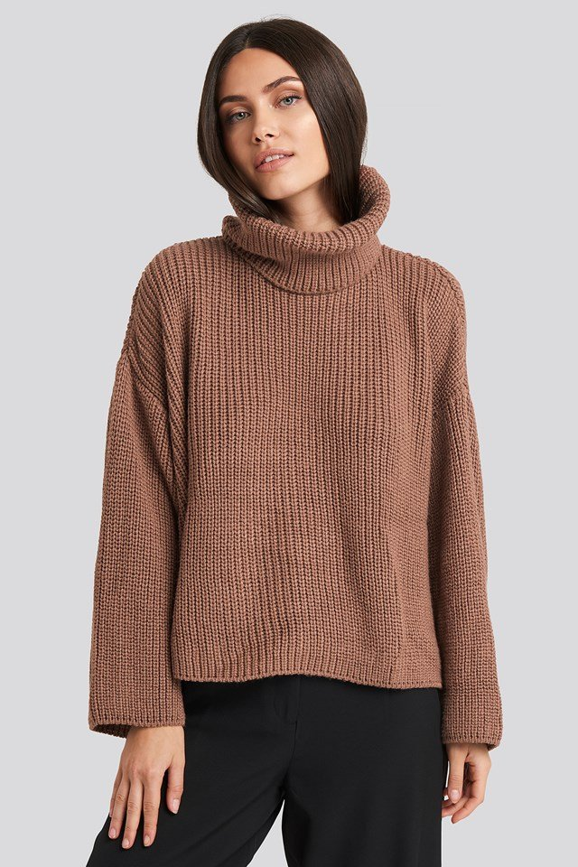 Oversized High Neck Knitted Sweater Dusty Dark Pink
