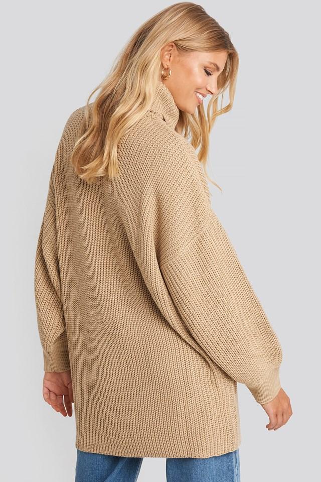 Oversized High Neck Long Knitted sweater Light Beige