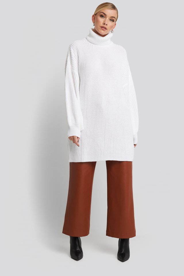 Oversized High Neck Long Knitted sweater Offwhite