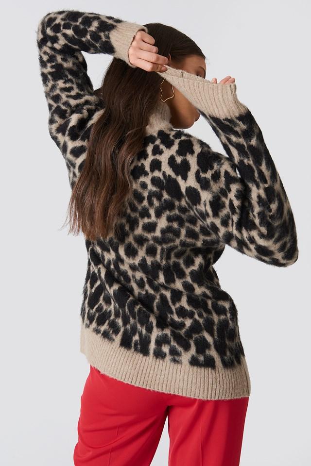 Oversized Leo Sweater beige/Black