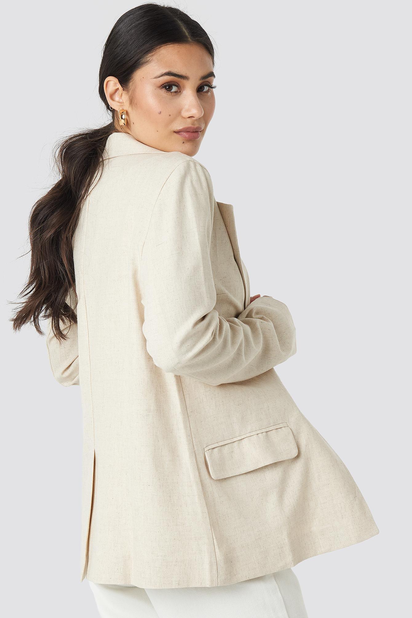 Oversized Linen Look Blazer NA-KD.COM