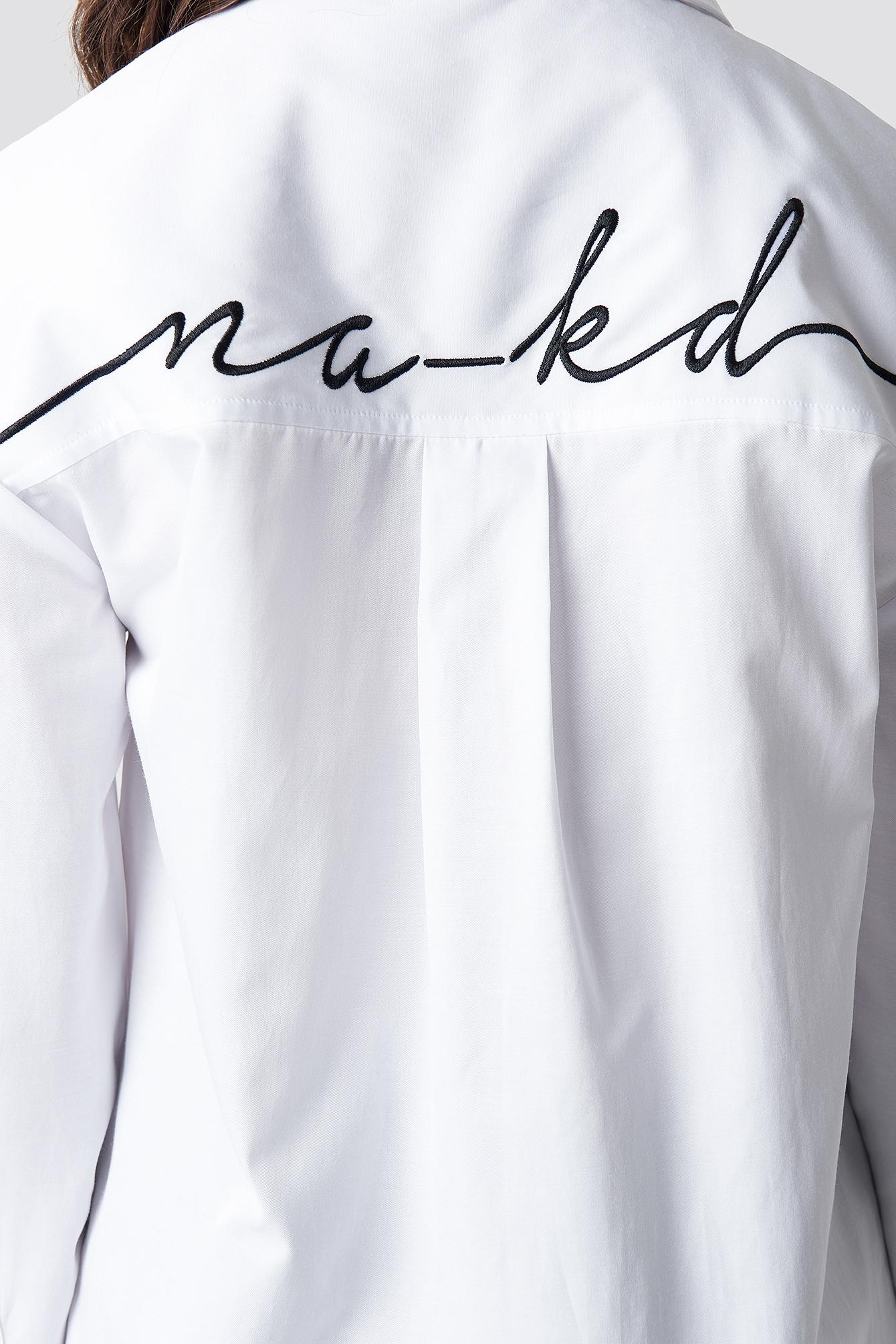Oversized Logo Embroidery Shirt NA-KD.COM