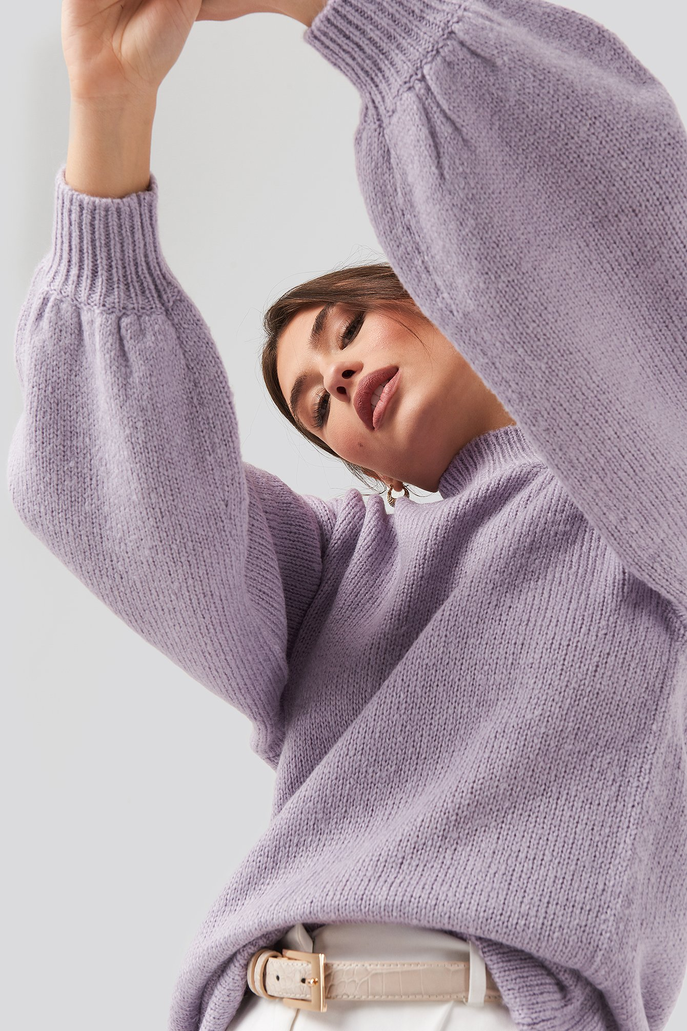 Dusty Light Purple Oversized Long knitted Sweater